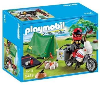 PLAYMOBIL MOTORISTA CON TIENDA DE CAMPAÑA 5438