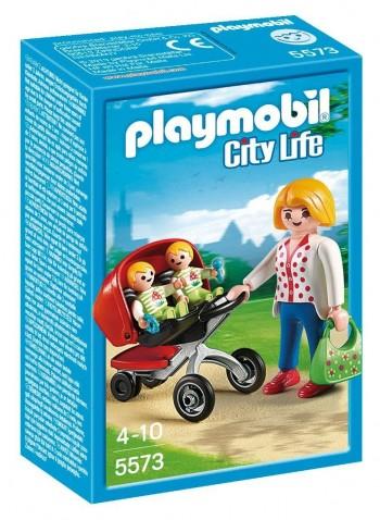 PLAYMOBIL CITY LIFE MAMA CON CARRITO DE GEMELOS 5573