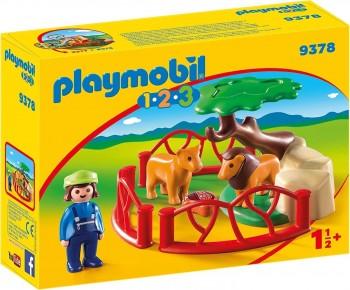 PLAYMOBIL 123 RECINTO DE ANIMALES LEONES 9378