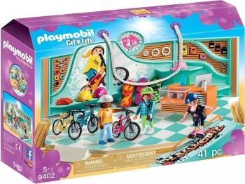 PLAYMOBIL CITY LIFE TENDA DE BICICLETASY SKATE 9402