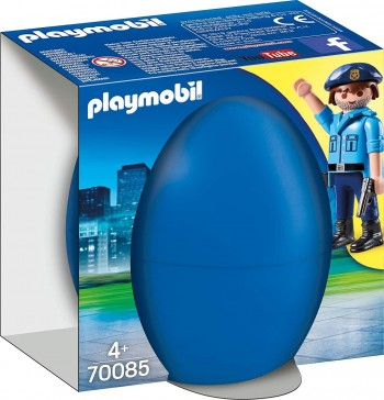 PLAYMOBIL HUEVO AZUL POLICIA CON PERRO 70085